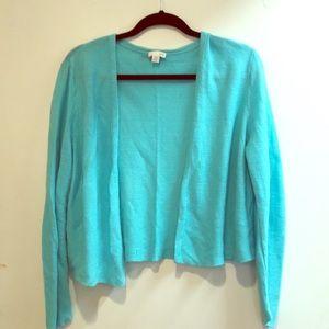 J. Jill Aqua teal cardigan sweater